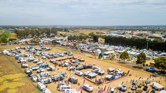Arial footage of the outdoor living show