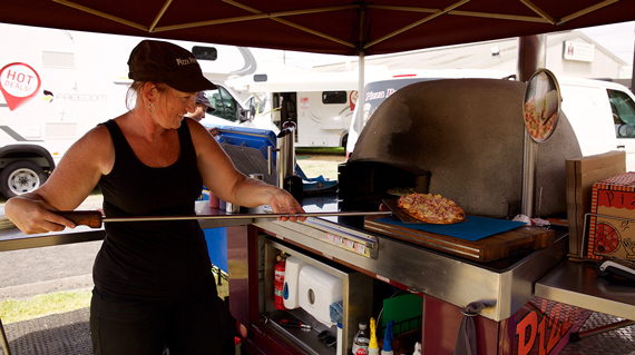 Pizza is on offer at the outdoor living show